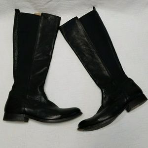 Frye Molly Gore Black Leather Riding Boots 9.5